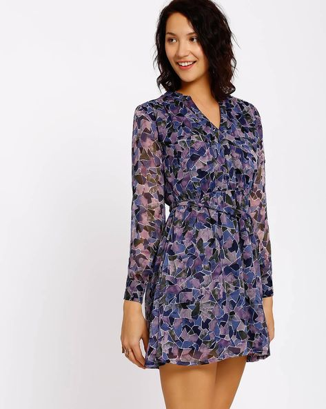 Printed Fit & Flare Dress By RIDRESS ( Navyblue )