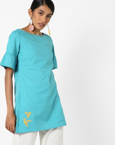 Round Neck Tunic With Bell Sleeves By AJIO ( Teal )