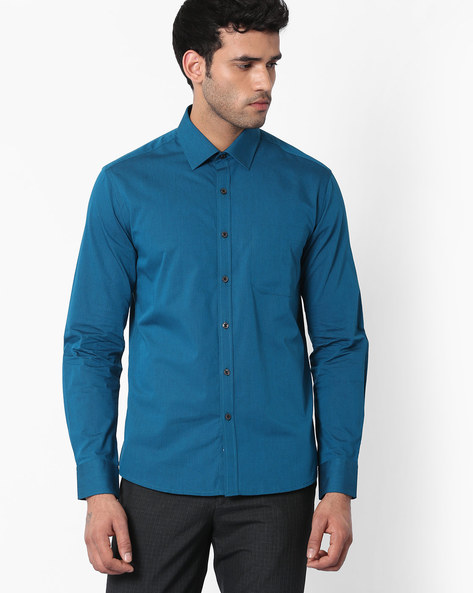 Regular Fit Shirt With Patch Pocket By NETWORK ( Dkaqua )