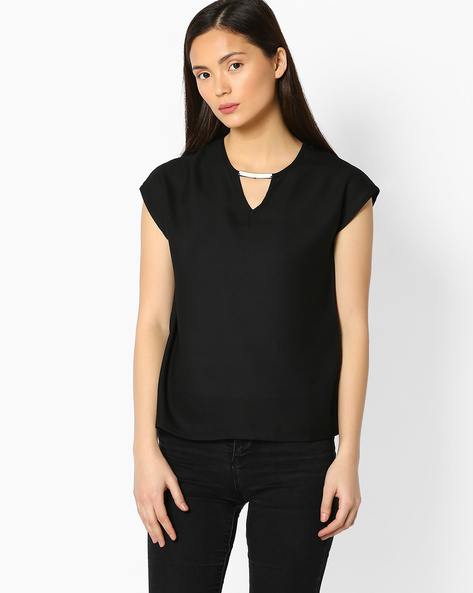 Boxy Top With Extended Cap Sleeves By FIG ( Black )