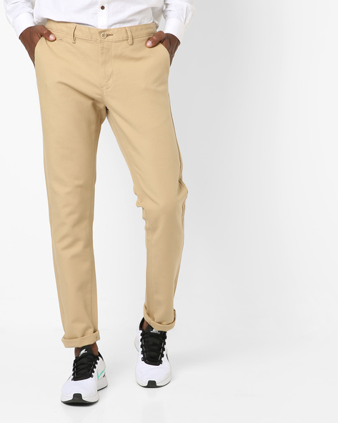 Flat-Front Chino Trousers By BASICS ( Khaki )