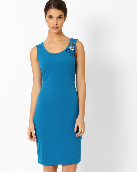 Sleeveless Sheath Dress By AJIO ( Blue )