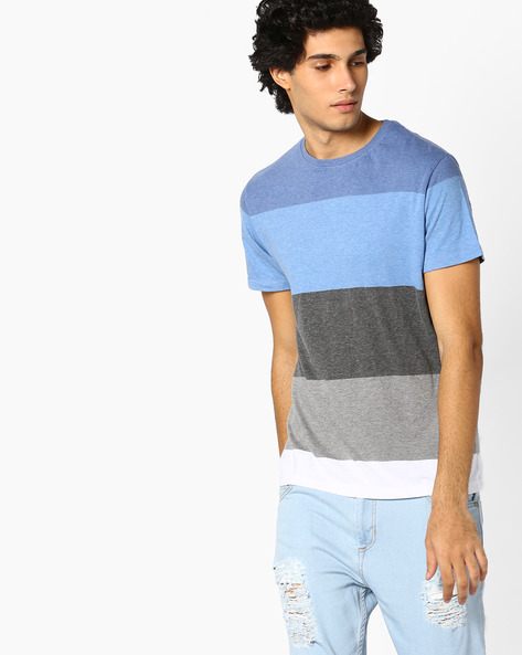 Colourblock Crew-Neck T-shirt By INDIAN TERRAIN ( Silver )