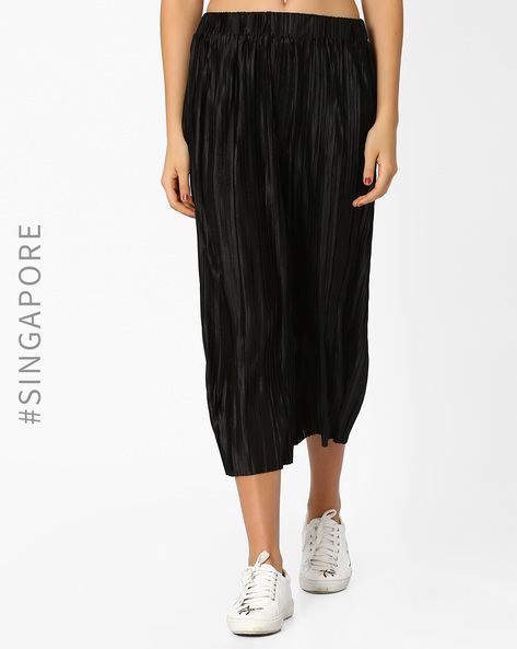 Pleated Culottes With Elasticated Waist By MDS ( Black )
