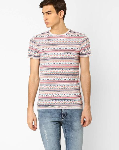All-Over-Print Slim Fit T-shirt By Jack & Jones ( White )