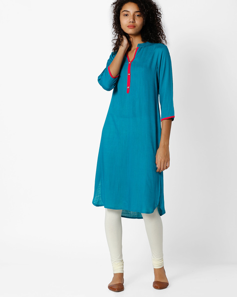 Straight Kurta With Curved Hemline By Indian Ink ( Turquoise )