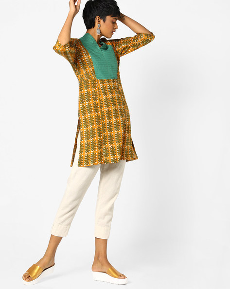 Printed Straight Kurta With Contrast Overlay By AJIO ( Beige )