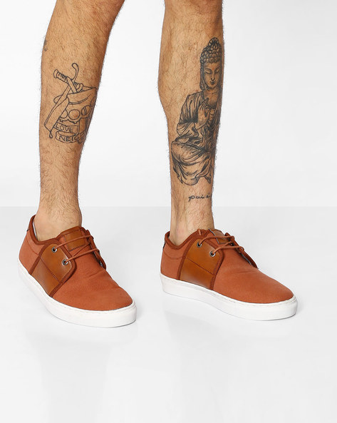 Lace-Up Canvas Sneakers By TURN ( Tan )