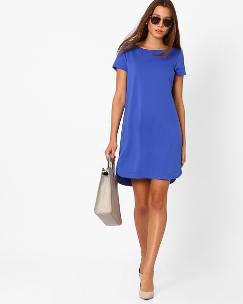 Ponte Knit Shift Dress By AJIO ( Blue )