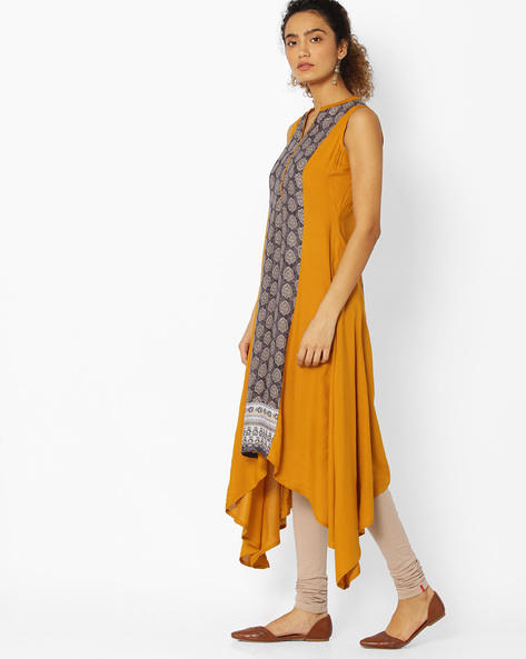 A-line Kurta With Waterfall Hem By Libas ( Yellow )