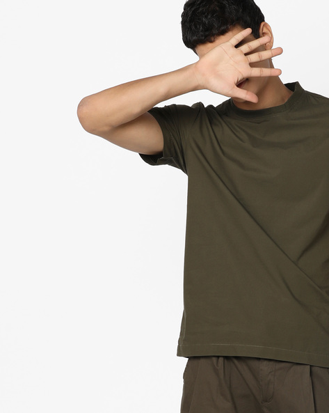 Crew-Neck T-shirt With Vented Hemline By AJIO ( Olive )