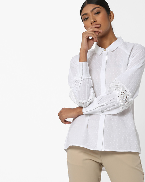 High-Low Shirt With Lace Inserts By AJIO ( White )