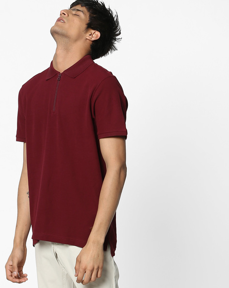 Cotton Polo T-shirt With Zip Closure By DNMX ( Maroonburg )