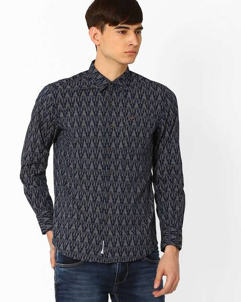 Printed Slim Shirt By Lee ( Indigo )
