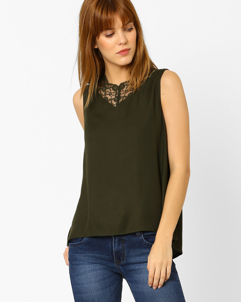 Sleeveless Top With Lace Trim By Vero Moda ( Green )