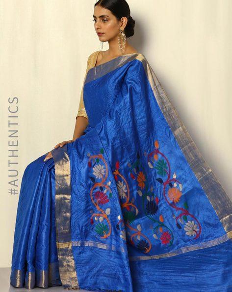 Handloom Pure Silk Tussar Saree With Zari Border By Pretty Woman ( Teal )