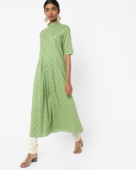 Geometric Print Turtle-Neck Dress By AJIO ( Green )