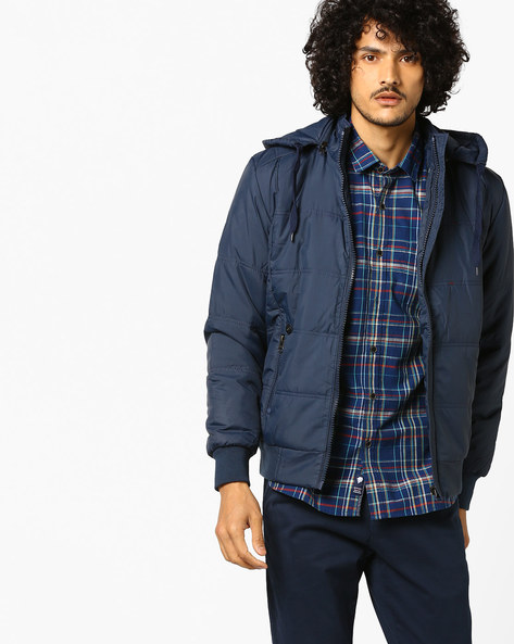 Slim Puffer Jacket With Front Zipper By Nature Casuals ( Navyblue )