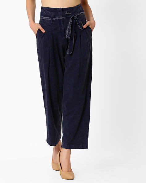 Pleat-Front Trousers With Tie-Up Detail By Oxolloxo ( Blue )