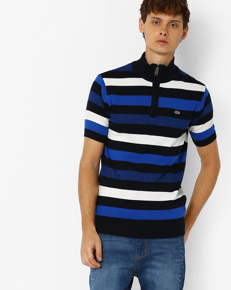 Striped Cotton T-shirt By NETPLAY ( Navy )