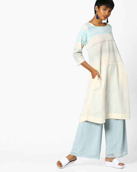 Striped A-Line Kurta With Insert Pockets By PE IW Casual ( Lightblue )