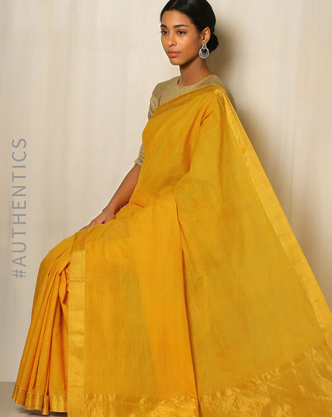 Handwoven Mangalgiri Cotton Saree With Zari Border By Indie Picks ( Yellow )