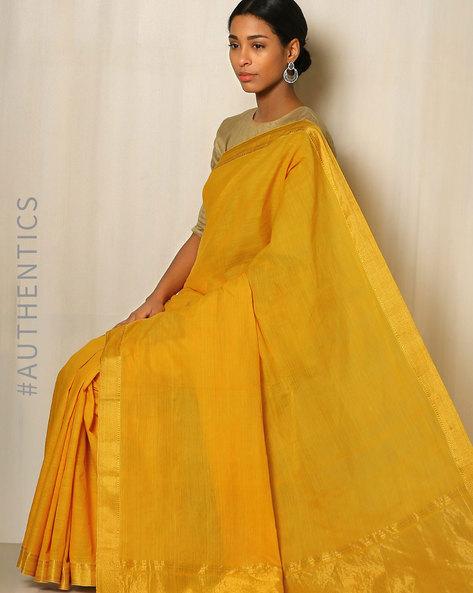 Handwoven Mangalgiri Cotton Saree With Zari Border By Indie Picks ( Yellow )