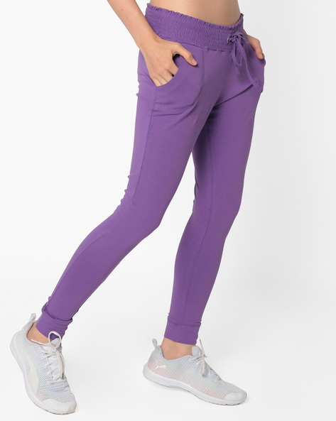 Cuffed Track Pants With Drawstring Waist By AJIO ( Purple )
