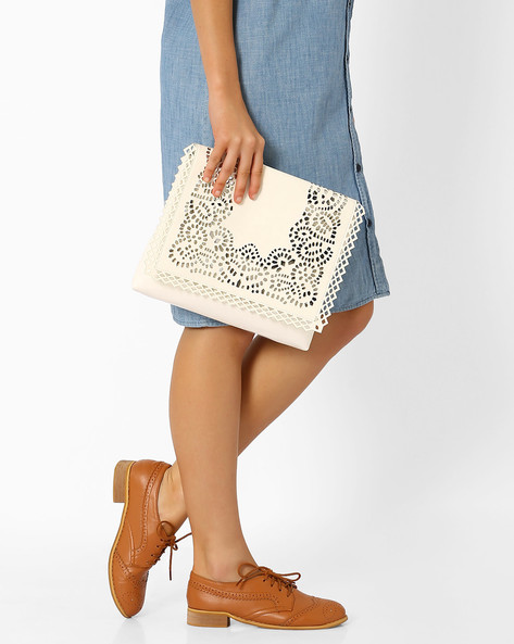 Sling Bag With Laser Cutouts By Tessa Moda ( White )
