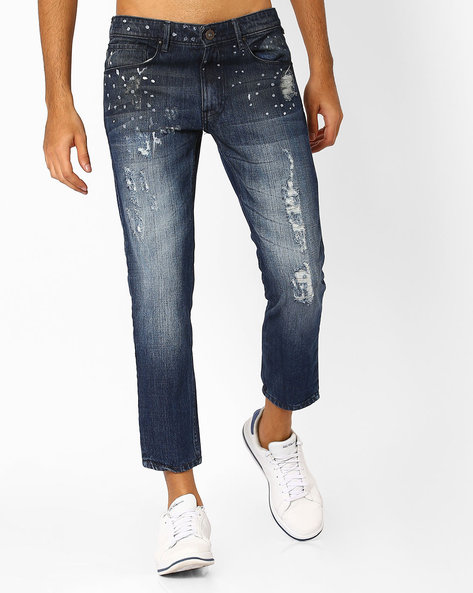 Slim Fit Distressed Jeans By SHELTR ( Blue )