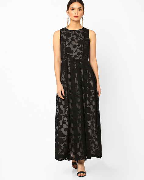 Maxi Dress With Floral Design By AJIO ( Black )