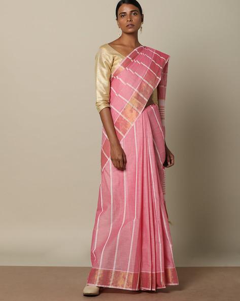 Textured Cotton Saree With Striped Pallu By Indie Picks ( Pink ) - 460118003001