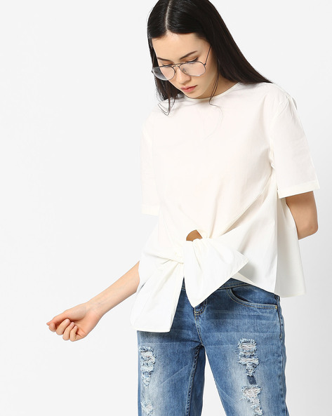 Boxy Top With Tie-Up By AJIO ( White )
