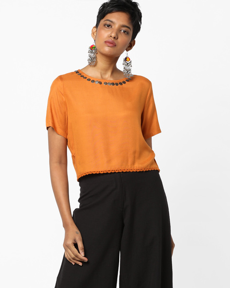 Boxy Top With Scalloped Lace Trim By AJIO ( Yellow )
