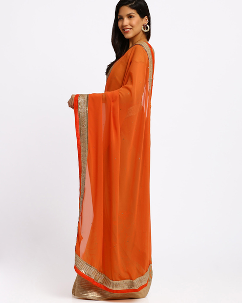 Half & Half Georgette Saree By Viva N Diva ( Orange )