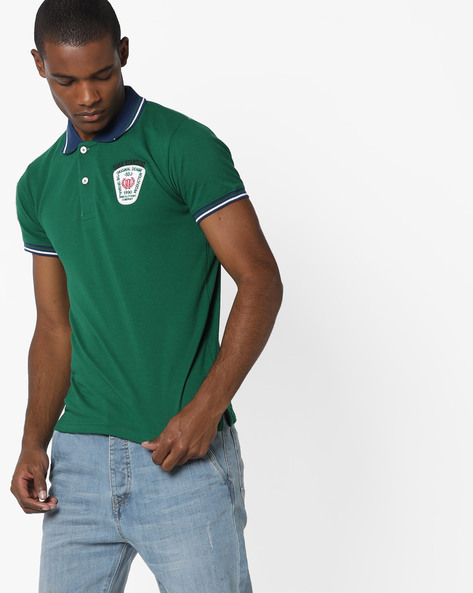 Slim Polo T-shirt With Stripe-Tipped Hems By DUKE ( Dkgreen )