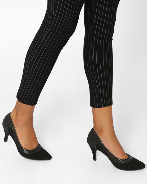Dual-Toned Suede Leather Heels By Inara ( Black )