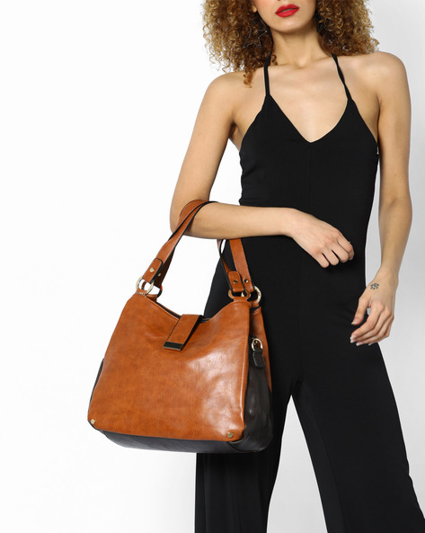 Panelled Shoulder Tote Bag By FUR JADEN ( Tan )