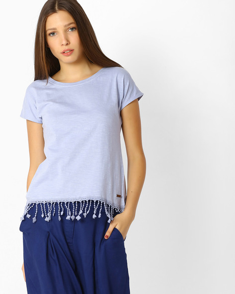 Crew-Neck Top With Tassels By FIG ( Blue )