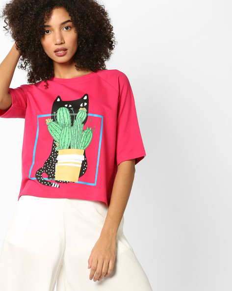 Printed Boxy Top With Raglan Sleeves By AJIO ( Magenta )
