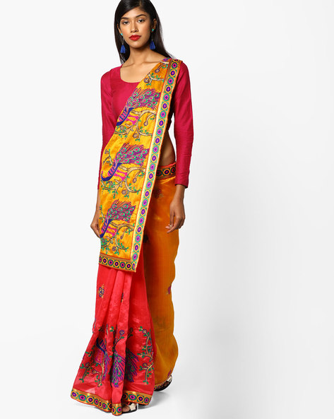 Printed Half-and-Half Saree With Embroidery By CHHABRA 555 ( Yellow )