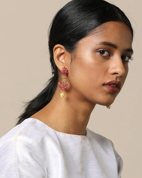 Floral Stone Earrings With Pearl Drop By Spargz ( Pink )