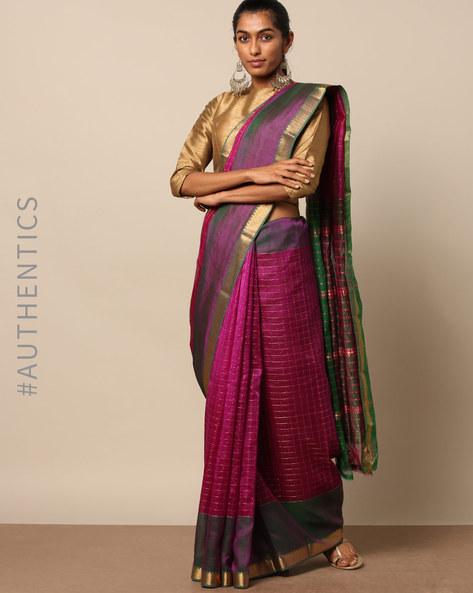 Handloom Cotton Silk Mangalgiri Saree By Indie Picks ( Purple )