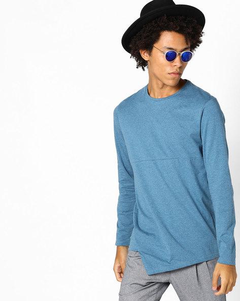 Crew-Neck T-shirt With Asymmetric Hem By AJIO ( Blue )