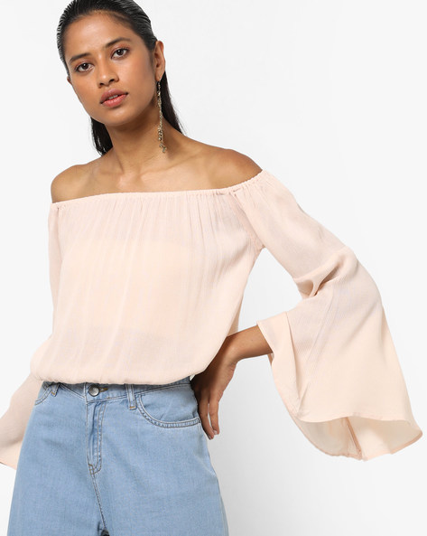 Off-Shoulder Top With Bell Sleeves By AJIO ( Lightpink )