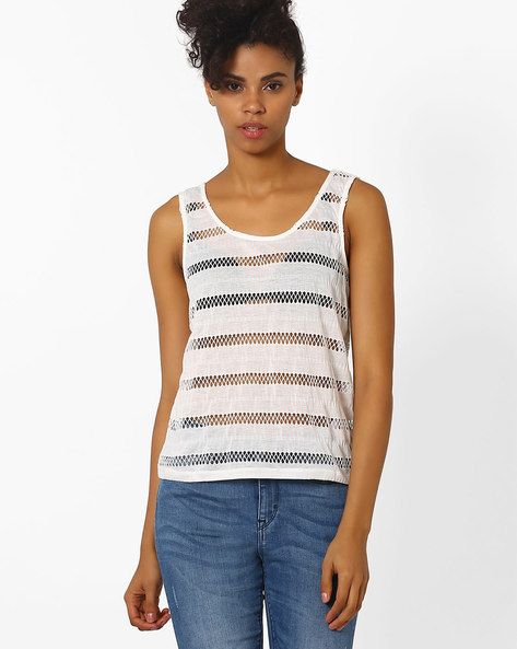 Sleeveless Top With Cut-Out Stripes By Vero Moda ( White )