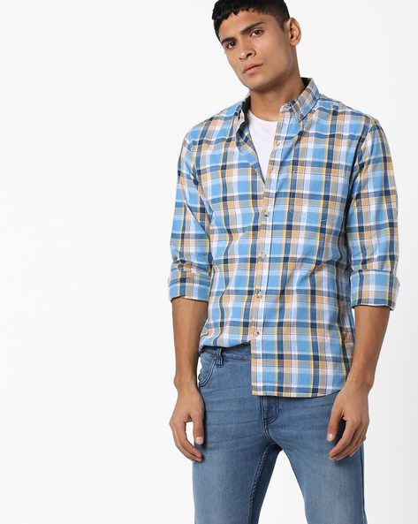 Slim Fit Cotton Checked Shirt By AJIO ( Blue )