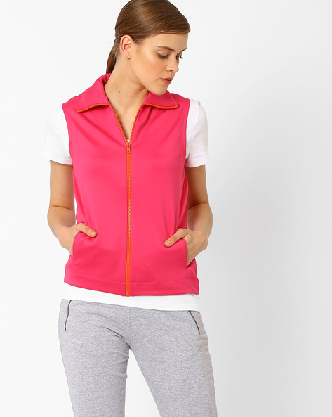 Sleeveless Scuba Jacket With Contrast Front Zipper By AJIO ( Pink )