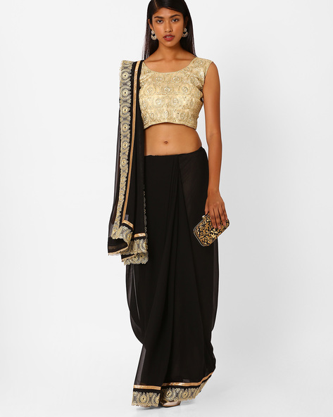 Saree With Contrast Lace Border By Amori ( Black )