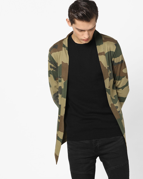 Slim Fit Cardigan With Camouflage Print By The Indian Garage Co ( Green )